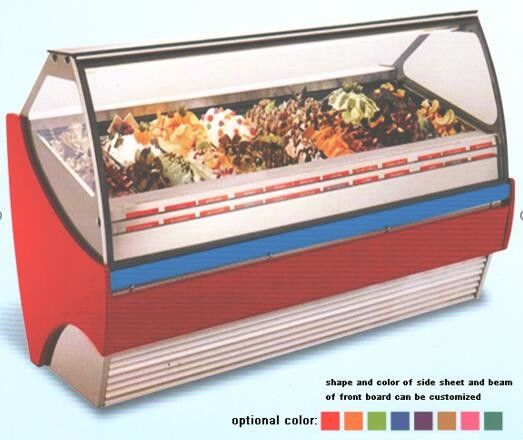 Auto Defrost Ice Cream Showcase Freezer , 1568mm Length Fan Forced Ventilation Gelato Freezer Showcase